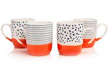 Set of 4 Tangerine Cream Blue Porcelain Mug Set Microwave Dishwasher Safe