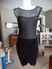BCBG MAXAZRIA BLOCKED MESH/FAUX LEATHER DRESS SMALL