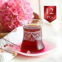 Authentic Turkish Tea Glasses with Saucers 12 Pcs, Teacups Set of 6, 5.75 oz