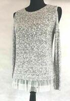 Beautiful grey & white teen sweater cold shoulder Abercrombie Kids 15/16 EUC