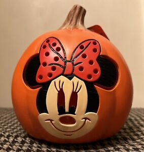 "Halloween Disney 6"" Minnie Mouse Lights Battery Operated Jack O Lantern Pumpkin"