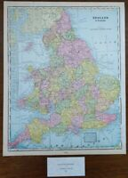 """Vintage 1900 ENGLAND WALES Map 11""""x14"""" ~ Old Antique Original CARDIFF LONDON"""