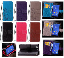 SD Four Leaf Clover Strap Leather Wallet Card Case Stand Cover For ASUS Sony XZ1