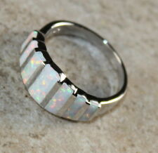 SILVER Elegant White Fire Opal Ring Size 8, WR41404