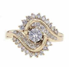 14k Yellow Gold 0.85ct-0.35ctw Round Cut Center Diamond Cocktail Bridal Ring Sz7