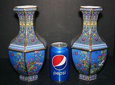 Rare Pair Jingdezhen Brilliant Blue Cloisonné Flower Birds Porcelain Large Vases