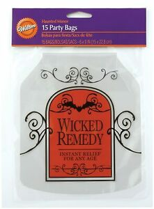 """New Wilton Halloween Shaped Party Bags With Ties 15 Ct  Wicked Remedy  6"""" x 9"""""""