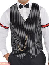 Mens Gangster Waistcoat 20s Fancy Dress Adult Grey Pinstripe Vest Costume Amscan