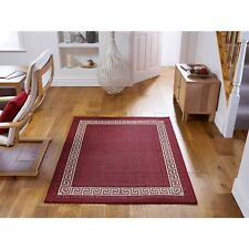 Greek Key  Red Flatweave Anti-Slip Hardwearing Rug in various sizes and runner
