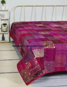 Vintage Silk Patchwork Kantha Quilt Blanket Bedspread Bedding Twin/Queen Throw