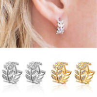 Women Leaf Crystal Hoops Huggie Earrings Dangle Rhinestone Ear Studs Earrings
