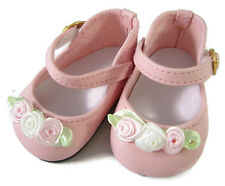 """Gorgeous Pink Dress Shoes with Rosebuds for 18"""" American Girl Doll Clothes"""