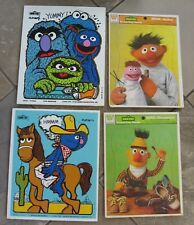 4 VNTG  Sesame Street Muppets Tray Puzzles LOT 2 wood Playskool 2 Whitman '76'79