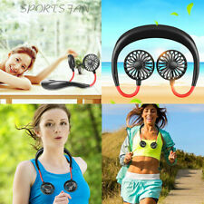 Portable USB Rechargeable Neckband Lazy Neck Hanging Style Dual Cooling Fan US