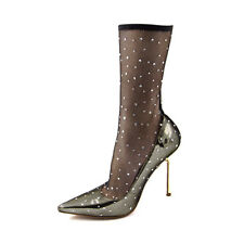 Womens Sexy Lace Mesh Sock Boots Clubwear High Heels Pointed Toe Shoes Plus Size
