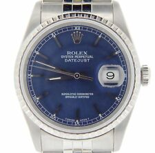 Mens Rolex Stainless Steel Datejust Quickset w/Jubilee Band & Blue Dial 16220