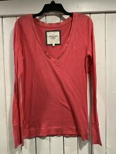 Abercrombie and Fitch V Neck Long Sleeve Shirt Size L SET OF 2 Pink & Brown