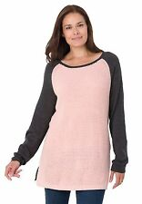 BRAND NWT Mixed Media CANDLE PINK & GRAY L/S Waffle Knit SWEATER PLUS SZ 14/16W