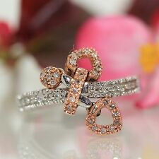 14k White Rose gold Natural Diamond movable dangling Heart Cluster ring VIDEO<--