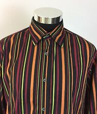 Ted Baker Mens Size 5 Large Button Front Shirt Colorful Stripe FRENCH CUFF (A15)