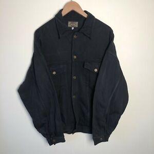 Vintage Armani Jeans Navy Blue Button-up Corduroy Collared Jacket Coat Medium M