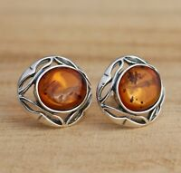 Cognac Baltic Amber 925 Sterling Silver Oval Stud Earrings Jewellery