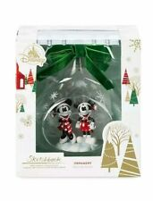 2019 Disney MICKEY & MINNIE MOUSE Glass Drop Sketchbook Christmas Ornament