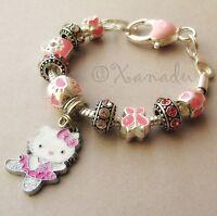 Pink Hello Kitty Dancer European Charm Bracelet With Pink Rhinestone Charm Beads
