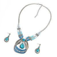 Women Fashion Crystal Choker Chain Pendant Bib Chunky Statement Necklace Jewelry