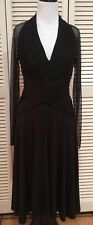 TADASHI COLLECTION Black Long Sheer Sleeve Deep V Neck Ruched Waist Dress, Small