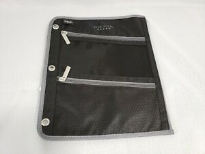 Mead Five Star Pen Pencil Case Zippered 3 Compartment Binder Pouch Black & Gray