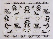 "Halloween 3D Nail Art Stickers Sparkly ""Vampire Ghost Bat""Silver,Black,White 075"