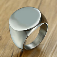 Blank Solid Top Men Signet Ring Band Stainless Steel Biker Gift Fashion Jewelry