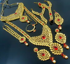 TRADITIONAL RED LCT KUNDAN CZ GOLD TONE NECKLACE BRIDAL ETHNIC JEWELRY SET 9 PCS