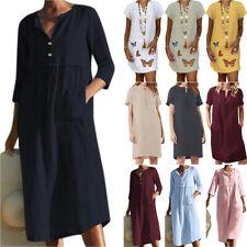 Women Lady Cotton Linen Tunic Mini / Midi Dress Summer Short Sleeve V-Neck Party