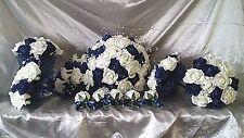 NAVY & IVORY WEDDING FLOWER PACKAGE 1 X TEARDROP 4 X BRIDESMAIDS  5 X BUTTONHOLE