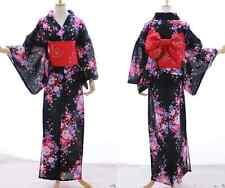 K-017 NERO ROSSO ROSA ROSE FIORI ORIGINALE Giappone Kimono Yukata cintura obi