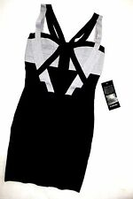 NWT Bebe black silver shimmery contrast bandage straps top dress S small party