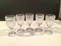 Set of 5 Vintage Clear Pressed Glass Stemmed Cordial Liqueur Glasses