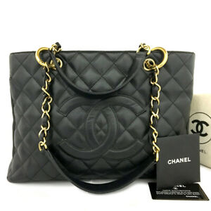 CHANEL Quilted Matelasse GST Caviar Skin Chain Grand Shopping Tote Bag /B0495