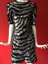 NEXT Signature Zebra Print Sequin Party Short Sleeve Mini Dress Size 8 BNWOT