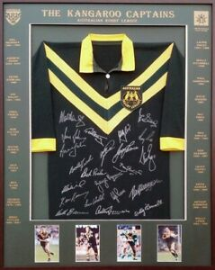 Blazed In Glory - Australian Kangaroo Captains - NRL Signed & Framed Jersey