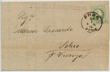 1876 3kr, grün, AUSLANDS-DRUCKSACHE (mit Inhalt) PRAG nach SCHIO. Attraktiv!