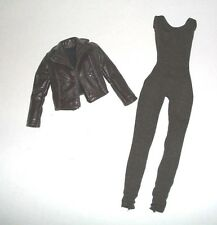 NEW FROM BOX BARBIE DOLL DARK BROWN BELLA TWILIGHT CLOTHES FAUX LEATHER JACKET