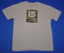 Burton Camo Logo Snowboarding T-Shirt Gray size S
