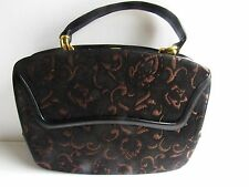 Rosenfeld Beautiful 1950's Vintage Tapestry & Leather Handbag In Mint Condition