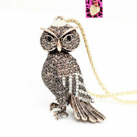 Betsey Johnson Retro Bronze Crystal 3D Owl Pendant Sweater Chain Necklace Gift