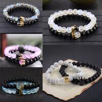 Charm Mystic Aura Quartz Bead Natural Stone King Queen Crown Couples Bracelets