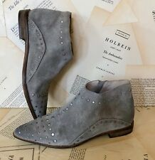 NEW Free People Distressed Gray Studded Flat Pointy Toe Ankle Boots 37 / 6.5-7