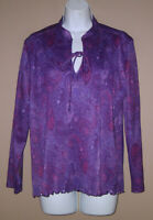 Vintage 1970s Womens Size Large Long Sleeve Floral Paisley Blouse Top Shirt